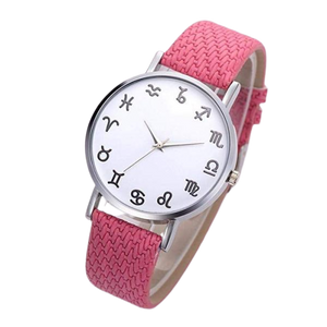 Pink Leather Astrology Watch