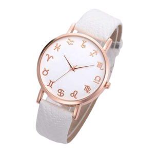 White Leather Astrology Watch