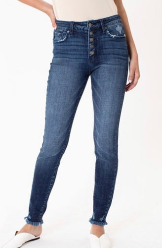 Button Front Frayed Denim