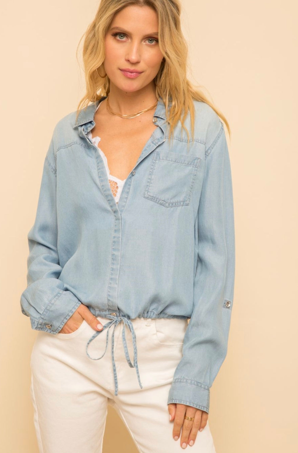 Kelsea Chambray Top