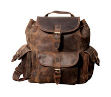 "Load image into Gallery viewer, 16""  Distressed Hunter Buffalo Leather Backpack"