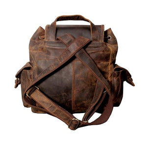 "16""  Distressed Hunter Buffalo Leather Backpack"