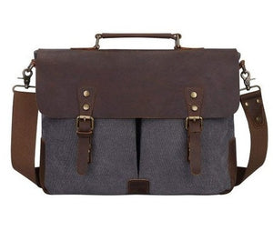 "16"" Grey Canvas And Black Buffalo Leather Bag, Briefcase - Status Co. Leather Studio"