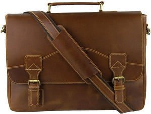 Leather Laptop Messenger Bag, Shoulder Satchel Bag-messenger bag-Status Co. Leather Studio