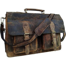 Load image into Gallery viewer, Rustic & Rugged Leather Laptop Messenger Bag