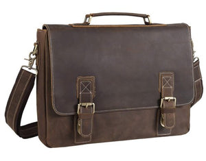 Dark Brown Solid Leather Laptop Messenger Bag - Status Co. Leather Studio