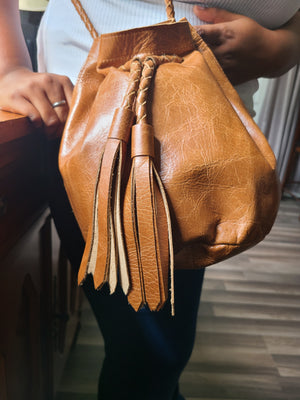Women's Lambskin Bucket Purse w/ Tassel - Status Co. Leather Studio