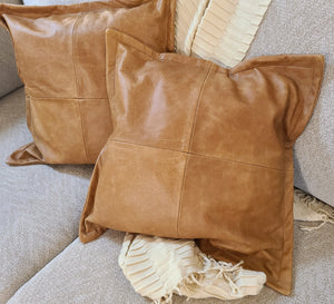 100% Lambskin Leather Pillow Cover - Sofa Cushion Case - Decorative Throw Covers for Living Room & Bedroom - Antique Brown - Status Co. Leather Studio