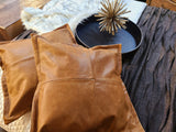 100% Lambskin Leather Pillow Cover - Sofa Cushion Case - Decorative Throw Covers for Living Room & Bedroom - Antique Brown - Qty 1