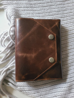 Refillable Executive Leather Journal, Brown Handmade Daily Cowhide Notepad for Men and Women, Sketchbook, Travel Diary & Notebook (5 x 7)-journal-Status Co. Leather Studio