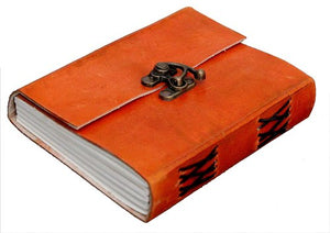 Buckle Lock Leather Bound Diary / Notepad  (Orange)