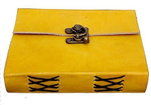 Load image into Gallery viewer, Buckle Lock Leather Bound Diary / Notepad  (Yellow)