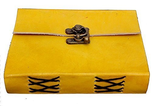 Buckle Lock Leather Bound Diary / Notepad  (Yellow)