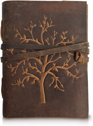 Tree of Life Buffalo Leather Writing Journal /Notebook / Diary Sketchbook (5 x 7)-journal-Status Co. Leather Studio