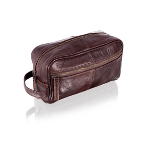 Italian Leather Toiletry Bag / Travel Dopp Kit - Status Co. Leather Studio