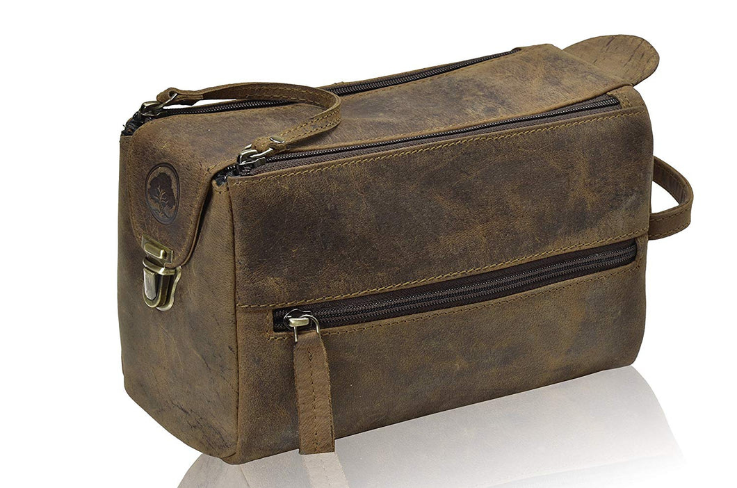 Genuine Leather Unisex Travel Toiletry Bag / Dopp Kit - Status Co. leather messenger bag, backpack, laptop bag, rucksack, briefcase, travel bag