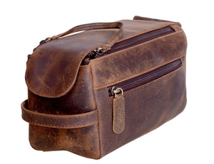 Genuine Buffalo Leather Toiletry Bag Travel Dopp Kit - Status Co. Leather Studio