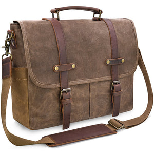 Men's Vintage Genuine Leather and Waxed Canvas Messenger Bag - Status Co. leather messenger bag, backpack, laptop bag, rucksack, briefcase, travel bag