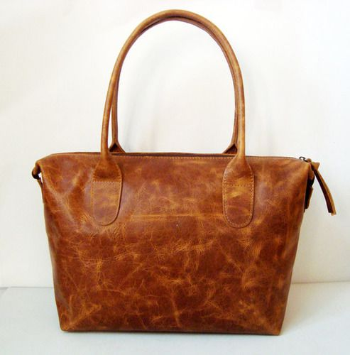 Women's Designer Zipper Leather Tote Bag