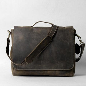 Handrafted Italian Crazy Horse Leather Briefcase - Status Co. Leather Studio