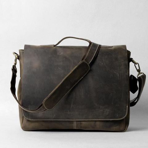 Handrafted Italian Crazy Horse Leather Briefcase
