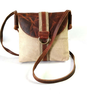 Leather and Canvas Mini Sling Bag - Status Co. Leather Studio
