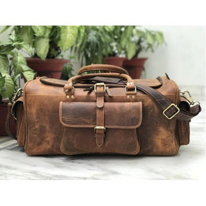 Men's Hunter Buffalo Weekender Luggage Bag/ Duffel Bag - Status Co. Leather Studio