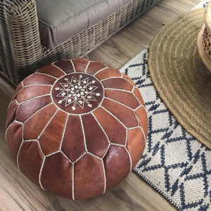 Handcrafted Moroccan Leather Pouf Ottoman - Status Co. Leather Studio