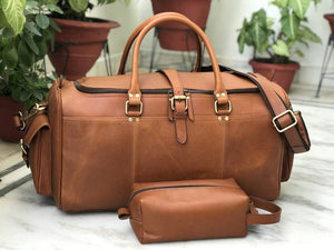 Combo Offer, Limited Offer, 24 inch Men's TAN Leather Weekender Duffel and Free Wash Bag - Status Co. Leather Studio