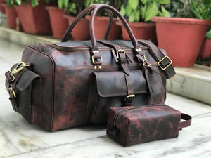 Combo Offer, Limited Offer, 24 inch Men's Buffalo Leather Weekender Duffel and Free Dopp Kit - Status Co. Leather Studio
