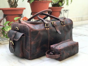 Combo offer, Limited Offer - Brown Buffalo Leather Weekender Bag and Toiletry Bag - Status Co. Leather Studio