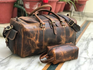 Combo Offer, Limited Offer, 24 inch Men's Hunter Leather Weekender Duffel and Free Wash Bag - Status Co. Leather Studio