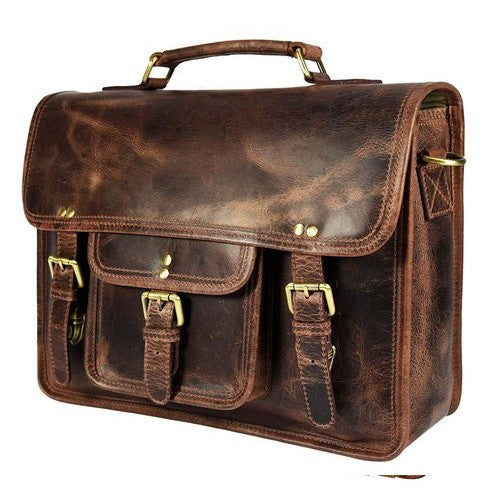 Tobacco Buffalo Leather Messenger Bag