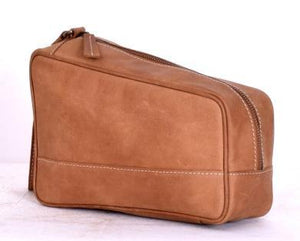 Camel Brown Buffalo Leather Designer Cosmetic Pouch