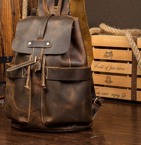 Vintage Buffalo Leather Bucket Drawstring Backpack