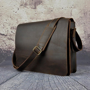 Vintage Distressed Buffalo Leather Messenger Laptop Bag - Status Co. Leather Studio