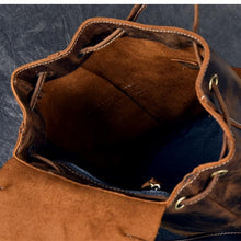 Load image into Gallery viewer, Vintage Buffalo Leather Bucket Drawstring Backpack