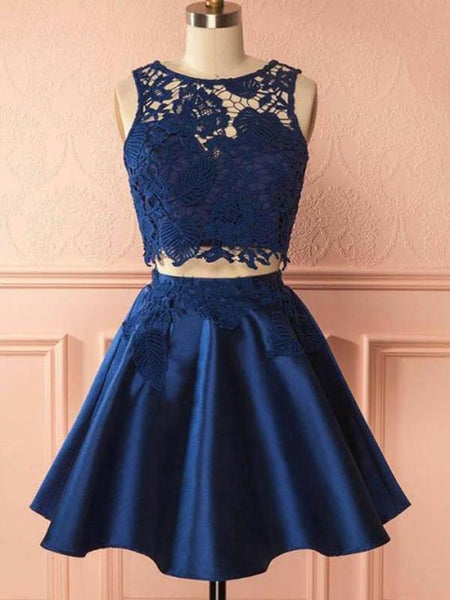 2 Pieces Navy Blue Homecoming Dress Satin Two Pieces Lace Homecoming Dress Party Dress