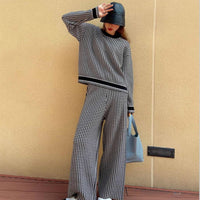 Capsule Series of Classical Plover Case Knitwear Loose Two-piece Suit Female Wide-legged Qiu Dong Road