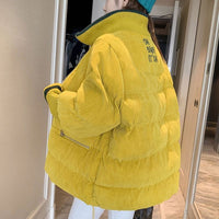 2020 Winter Woman Jacket Corduroy Padded Coat Lady Parka Loose Student Bread Clothing Thick Outerwear