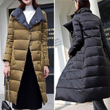 2020 Duck Down Jacket Women Winter Long Thick Double Sided Plaid Coat Female Plus Size Warm Down Parka For Women Slim Clothes