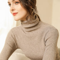 Autumn and Winter New Cashmere Sweater Women High Collar Pullover Fashion Sweater Warm Bottom Sweater