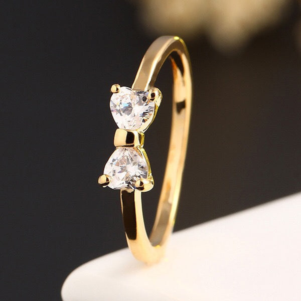 Fashion White Crystal Rings for Women Bow Cubic Zirconia Jewelry Vintage Gold Ring Wedding Anniversary Valentine's Day Gifts