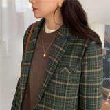 Korean Style Vintage Woolen Plaid Coat Blazer Women Jackets Female Retro Suits Coat Spring Autumn Outerwear