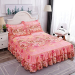 Cilected Double Lotus Leaf Lace Bed Skirt Pillowcase 48*74CM Wedding Home Bedroom Bed Cover Sheet Protective Cover Decoration