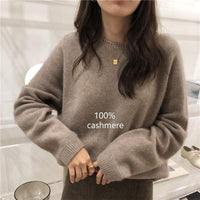 2020 Autumn Winter Cashmere sweater women fashion Round neck sweater loose 100% wool sweater batwing sleeve plus size pullover