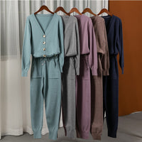 Women sweater sets suits 2020 fashion customes V neck cardigans + long Pants Track Suits for Autumn Winter Woman Knitted suit