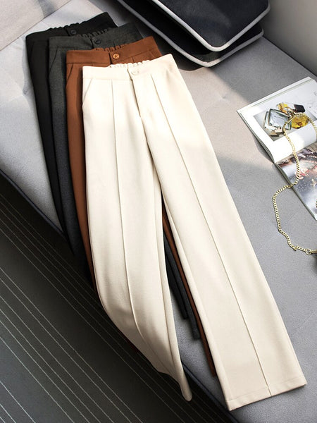 Falling wide leg pants women's autumn and winter new high waist straight wool pants versatile loose casual mopping trousers