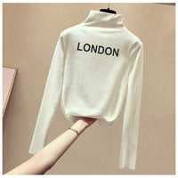 Women's Sweaters Turtleneck 2020 Autumn Winter Tops Sweater Lady Black White Thin Pullover Jumper Knitted Sweater Pull Femme New