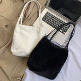 plush handbags Faur Fur shoulder Messenger bag Shopping Totes hand bag women solid color ladies bag tote chiristmas gift bag